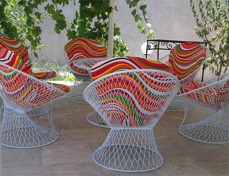 میز و صندلی ویلایی فلزی گل لادن
