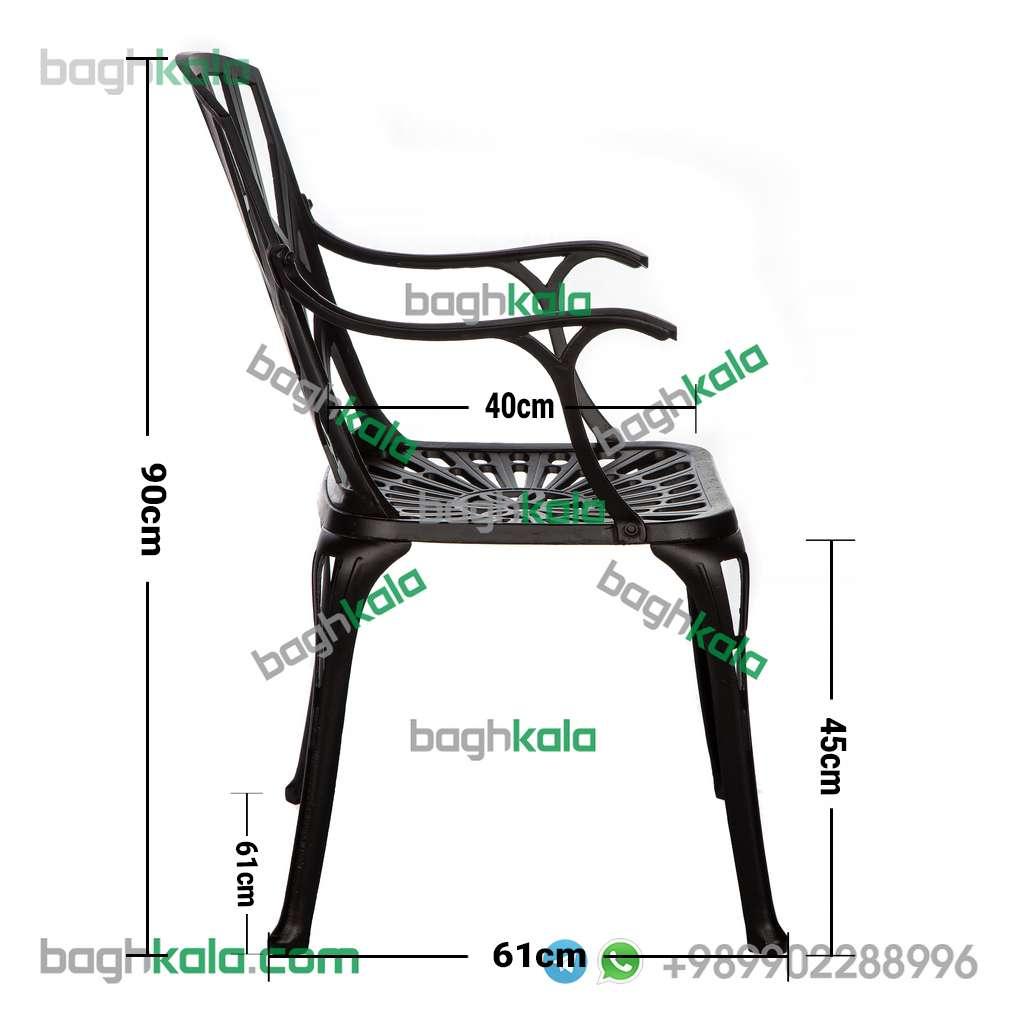 ابعاد صندلی آلومینیومی آزالیا دسته دار
