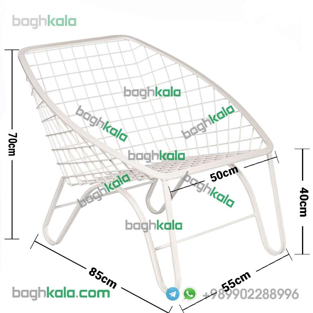 ابعاد صندلی باغی فلزی پریوش